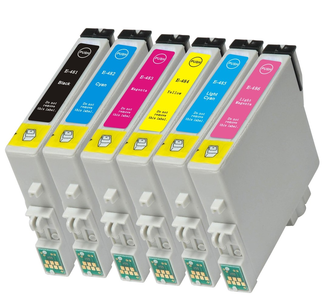 Kompatibilní inkousty s Epson T0487 černý, modrý, červený, žlutý, světle modrý a světle červený