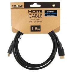 4World Kabel HDMI 1.4 High Speed Ethernet, 1.8m, černý