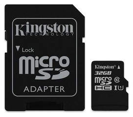 32GB microSDHC Kingston Canvas Select Plus A1 CL10 100MB/s + adaptér