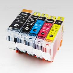 Kompatibilní inkousty s Canon PGI-5 + CLI-8 černý, modrý, červený a žlutý