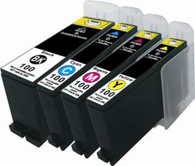 Kompatibilní inkousty s Lexmark 100XL černý, modrý, červený a žlutý - s čipem