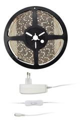 Solight LED světelný pás s testrem, 5m, sada s 12V adaptérem, 4,8W/ m, IP65, studená bílá