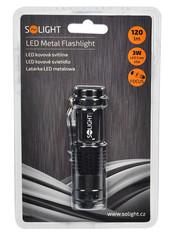 Solight LED kovová kapesní svítilna, 3W Cree, fokus, černá barva, 1x AA, WL31