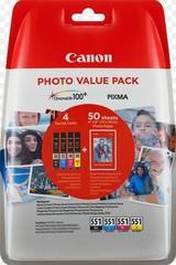 Originální Canon CLI-551XL Bk/C/M/Y + 50x PP-201, 6443B006