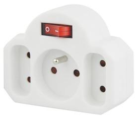 Emos zásuvka rozbočovací 2x plochá +1x kulatá s vypínačem, P0029