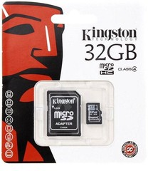 Kingston MicroSDHC 32GB Class 4 + SD adaptér, SDC4/32GB