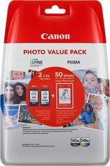 Originální inkoust Canon PG-545XL + CL-546XL + 50xGP-501 (8286B006), černý 15 ml. + barevný 13 ml.